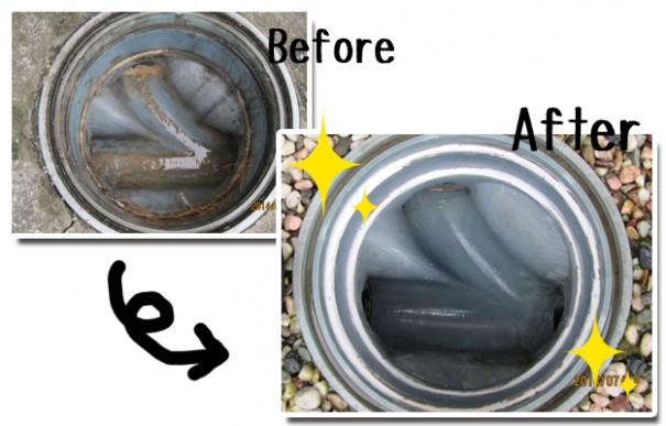 排水洗浄の施工前と施工後